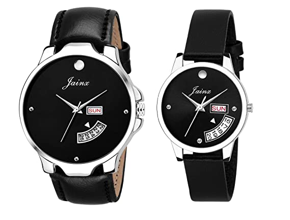 Jainx Black Analog Watch for Couple - JC454