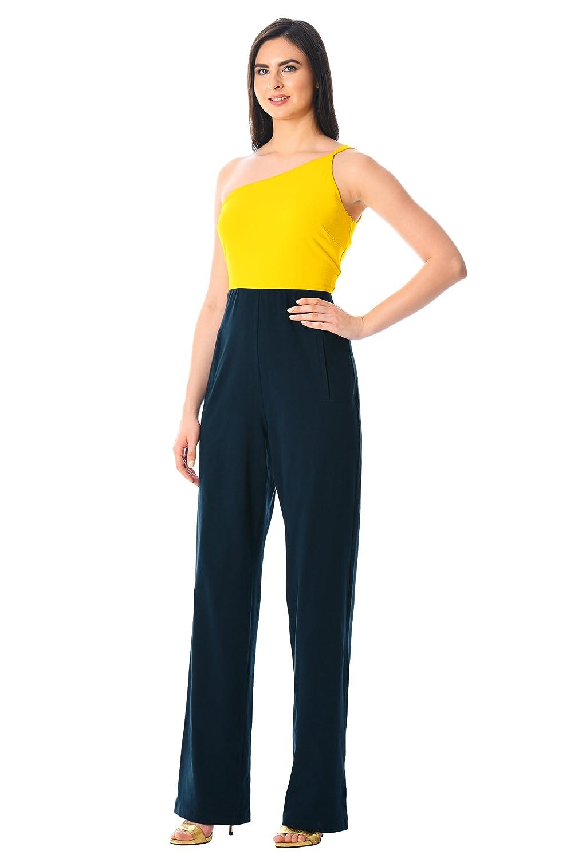 605f9b73af6b eShakti Women s One-shoulder colorblock cotton knit jumpsuit UK Size  38W Tall height Yellow deep navy  Amazon.co.uk  Clothing