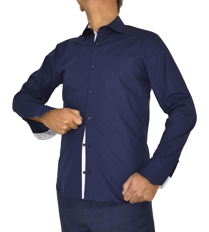 E. MECCI Camisa de Hombre 100% algodón Azul Slim Fit Manga Larga ...