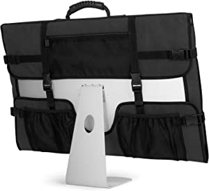 "CURMIO Travel Carrying Bag for Apple 27"" iMac Desktop Computer, Protective Storage Case Monitor Dust Cover with Rubber Handle for 27"" iMac Screen and Accessories, Black, Patent Design."