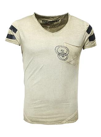 198704489caa True Prodigy Men T-Shirt Sixty Nine V-Neck Breast Pocket Strip Vintage Look  Khaki XL: Amazon.co.uk: Clothing