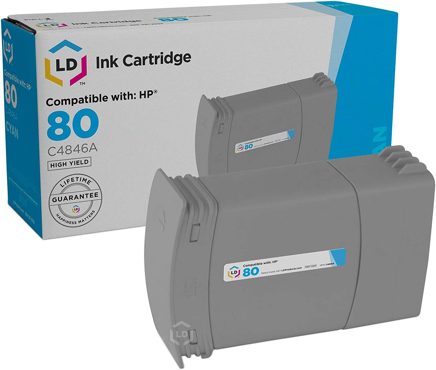 LD Remanufactured Ink Cartridge Replacement for HP 80 C4846A (Cyan)