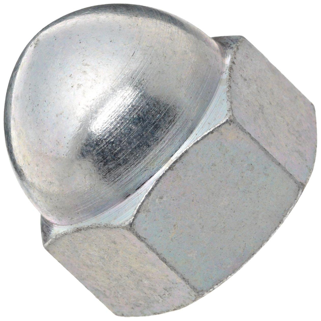 Zinc Plated Steel Acorn Nut, USA Made, 7/16'-14 Thread Size, 5/8' Width Across Flats, 11/16' Height, 7/16' Minimum Thread Depth (Pack of 20) 7/16-14 Thread Size 5/8 Width Across Flats 11/16 Height 7/16 Minimum Thread Depth (Pack of 20) Small Parts