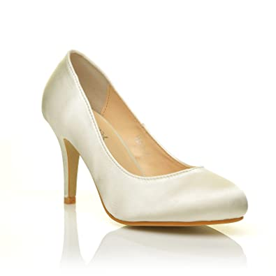 2e392fd977 Pearl Ivory Satin Stiletto High Heel Classic Bridal Court Shoes Size UK 8  EU 41