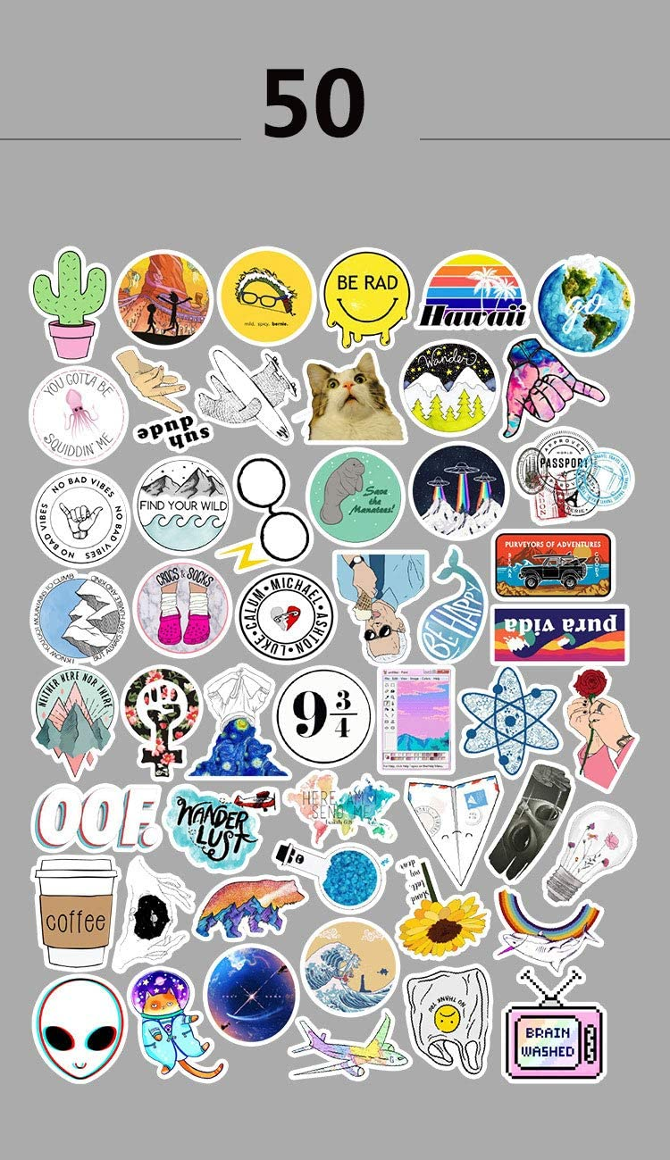 Little Fresh 53 50pcs LAIK Cute Stickers Ins Vinyl Sticker for Laptop Cups Phone Case Computer PC Water Bottle Bike Helmet Car Motorcycle Tumbler Luggage Helmet Skateboard Snowboard Gift for Kids