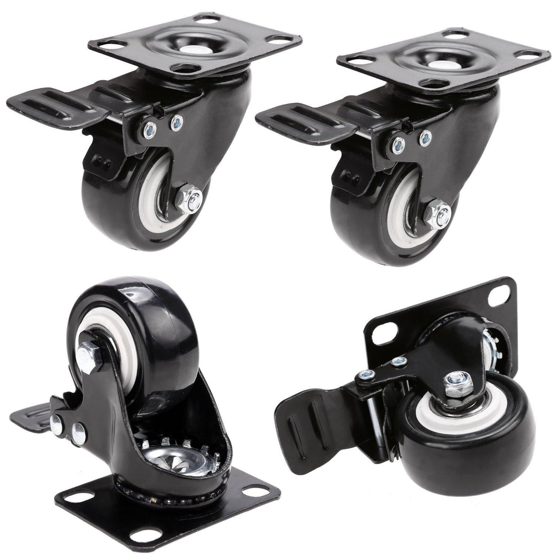 Herrman Caster_2in_Brake Lot de 4 roulettes avec freins sur plaque pivotante robuste MySit
