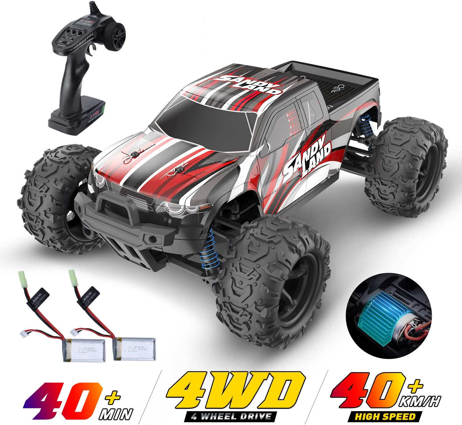 Amazon Com Deerc Rc Cars 9300 High Speed Remote Control Car For Kids Adults 1 18 Scale 30 Mph 4wd Off Road Monster Trucks 2 4ghz All Terrain Toy Trucks With 2 Rechargeable Battery 40 Min Play