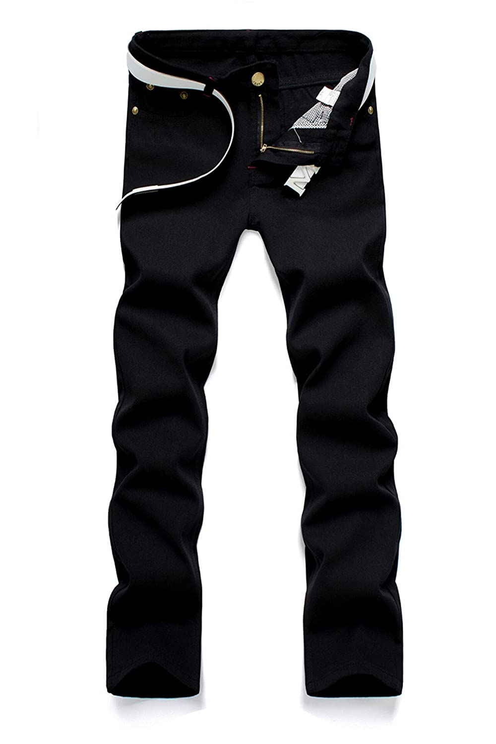 George Gouge New Classic Mens Straight Washed Business Casual Pants Slim Long Trousers Cotton Denim
