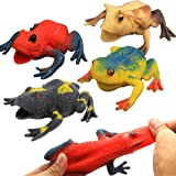 Frog Toys,4.5 Inch Assorted Rubber Frog Sets(6 Pack),Food Grade Material TPR Super Stretches,with Gift Bag and Learning…
