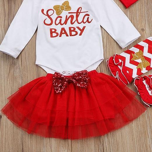 0-24 Meses Traje Navidad para Beb/é Ni/ña 4 Piezas Conjunto de Reci/én Nacido Mameluco de Manga Larga con Letra Santa Baby Falda de Tul Diadema Calentador de Rodilla
