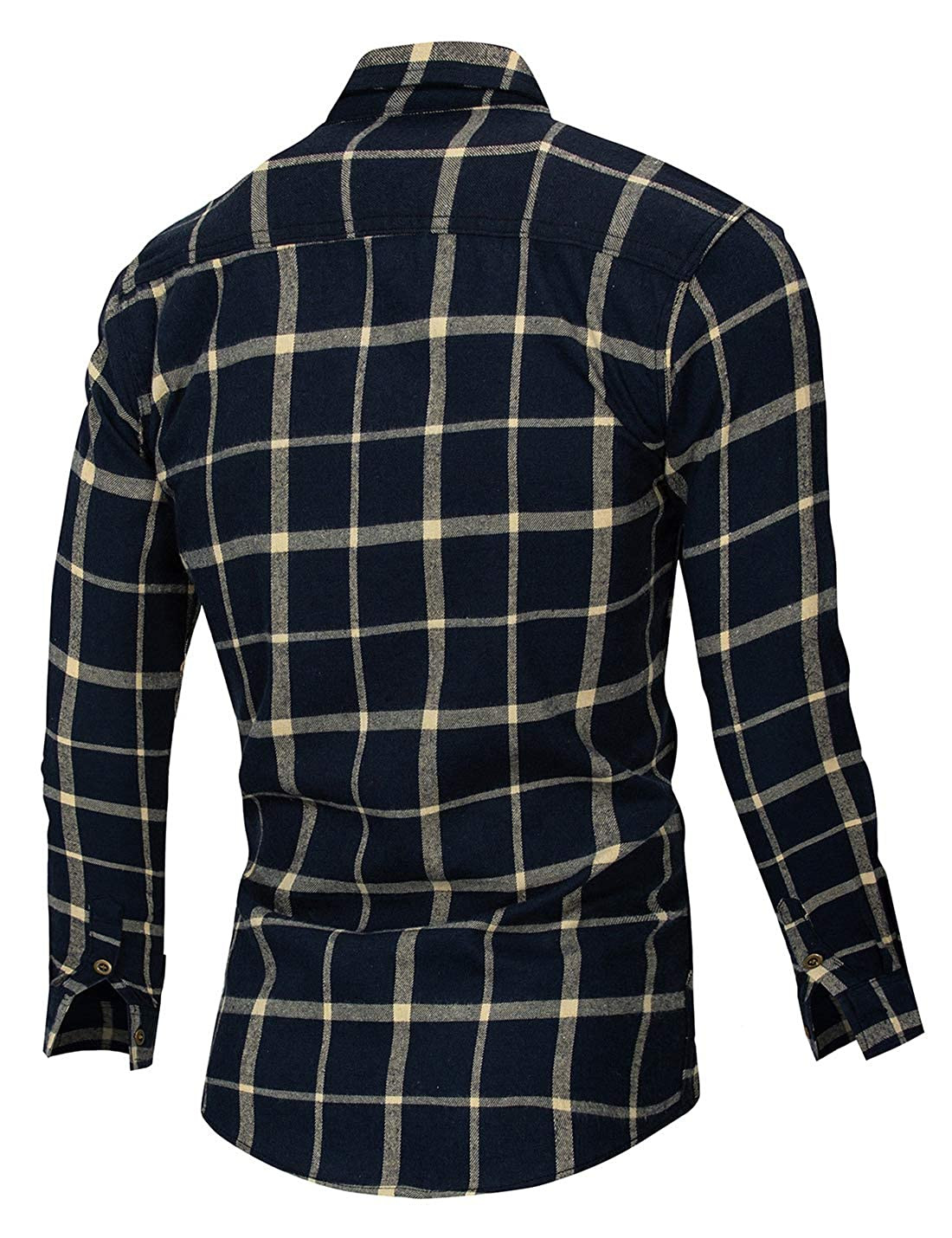 Springrain Mens Casual Regular Fit Button Down Long Sleeve Cotton Plaid Shirt