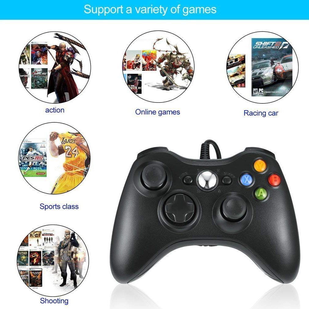 Maexus Xbox 360 Controller, Wired Controller for Microsoft Xbox Slim 360 PC (Windows XP/7/8/10), Android (TV/Phone/Tablet), PS3 - Black