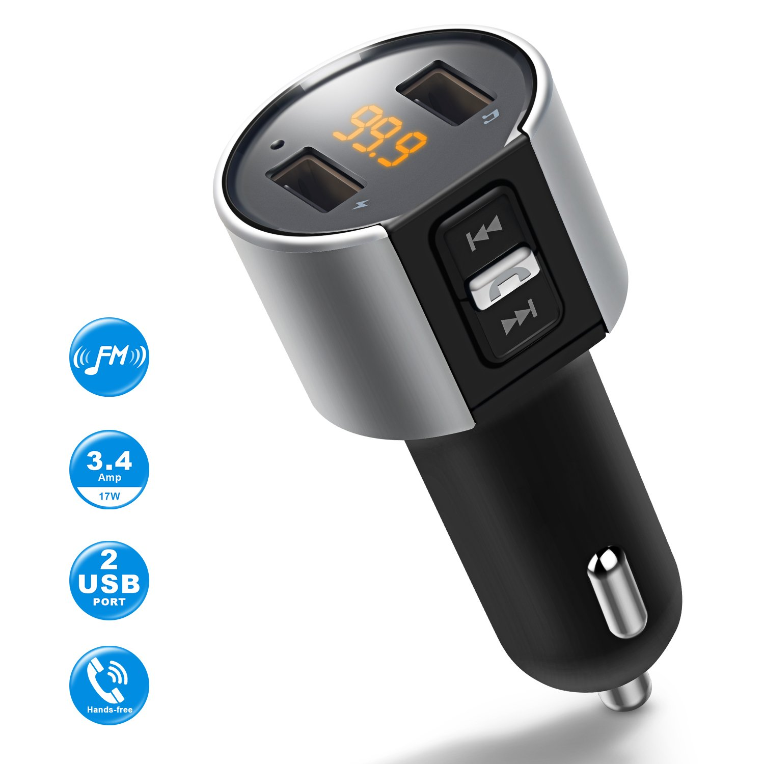 Bluetooth FM Transmitter for Car, Wireless Bluetooth FM Radio Adapter Car Kit with Hands-Free Calling and 2 Ports USB Charger 5V/2.4A&1A. by IMDEN