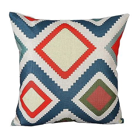 zhouba moda patrón geométrico de lino de cojín manta funda de almohada sofá decoración para el hogar cubierta, Lino, #8, talla única