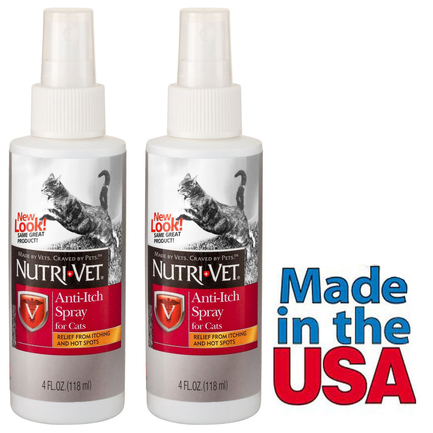 Cat Anti Itch Spray Relief from Itching and Hot Spots Total 8 Oz Pack of 2 Made in USA