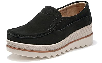 Loafers Flats Shoes Leather Moccasins for Women Slip on Platform Sneakers Comfort Driving Walking Casual Shoes