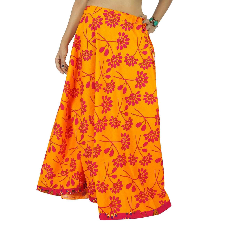 indische Baumwolle mit langen gedruckten Frauenkleidung Strandabnutzungsrock Hippie-Spitze