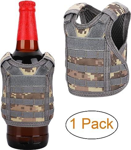 Adjustable Vest Beer Bottle Sleeve Holder Outdoor Tool Storage Bag Desert D