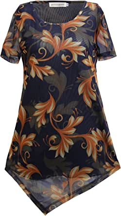 AVTOSRNO Women's Mesh Irregular Hem Tunic Top Short Sleeves Scoop Neck Shirts Blouse