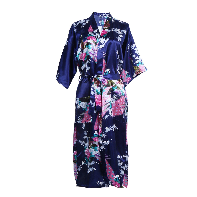 Elite99 Women's Sexy Robes Peacock And Blossoms Kimono Satin Nightwear Dress Long by Amazon