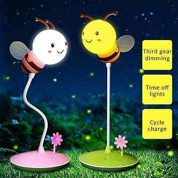 Starter Lámpara de escritorio táctil Hermosa patrón lindo de la abeja Ajuste atenuación Luz de la cama del niño Luz de lectura del grifo de carga USB: ...
