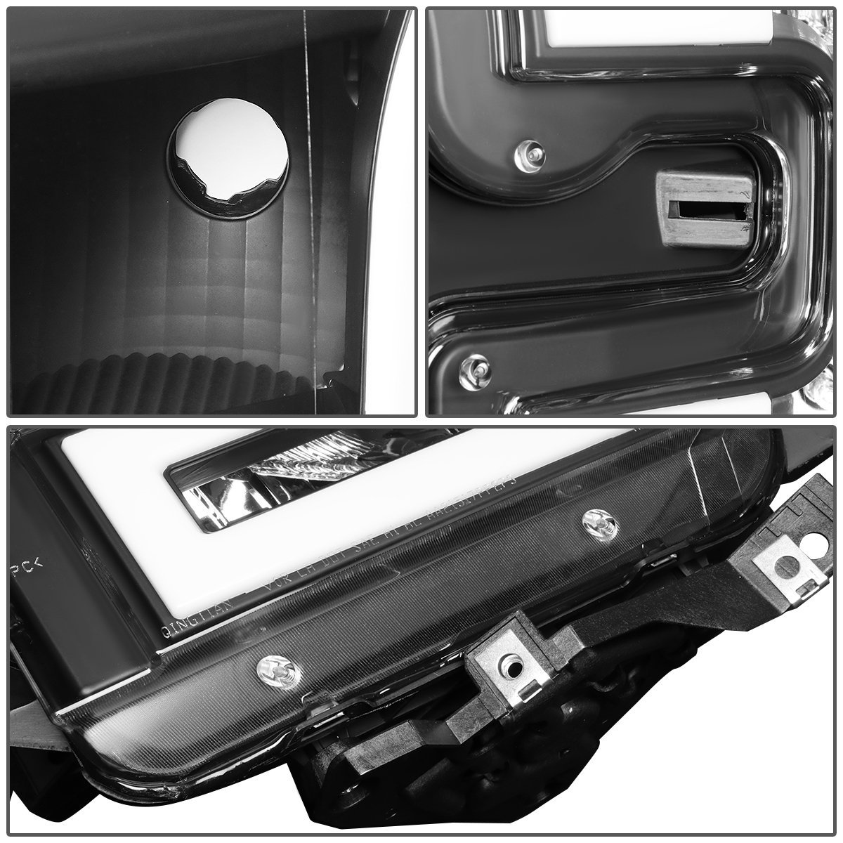 2007 Ford FUSION W//O AIR CURTAINS Post mount spotlight 6 inch Driver side WITH install kit -Black LED