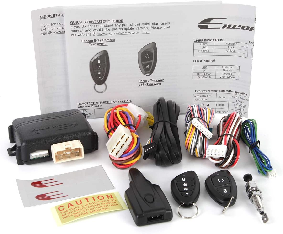 Encore E5 2-Way Paging Remote Start Keyless Entry System w// 4-Button LED Remote and Sidekick Remote