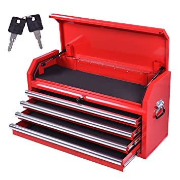 Goplus 36 Inch Portable Metal Tool Box Tool Chest Cabinet W/ 4 Drawers,