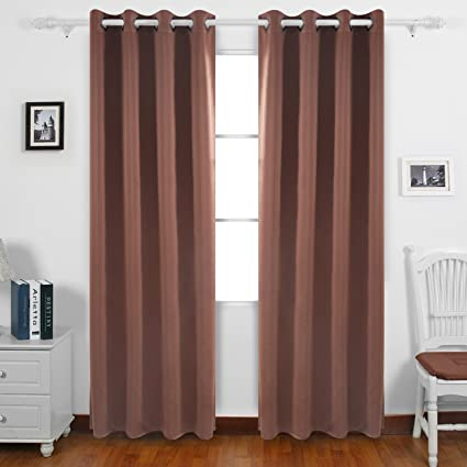 Deconovo Blackout Curtains Thermal Insulated Grommet Top Shades For Library 52W X 84L Inch