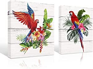 A Cup of Tea Colorful Parrot with Flower Picture Print on Canvas Birds Wall Art Modern Decor for Living Room Bedroom Scarlet Macaw Pictures for Kids 12x12 2Pcs