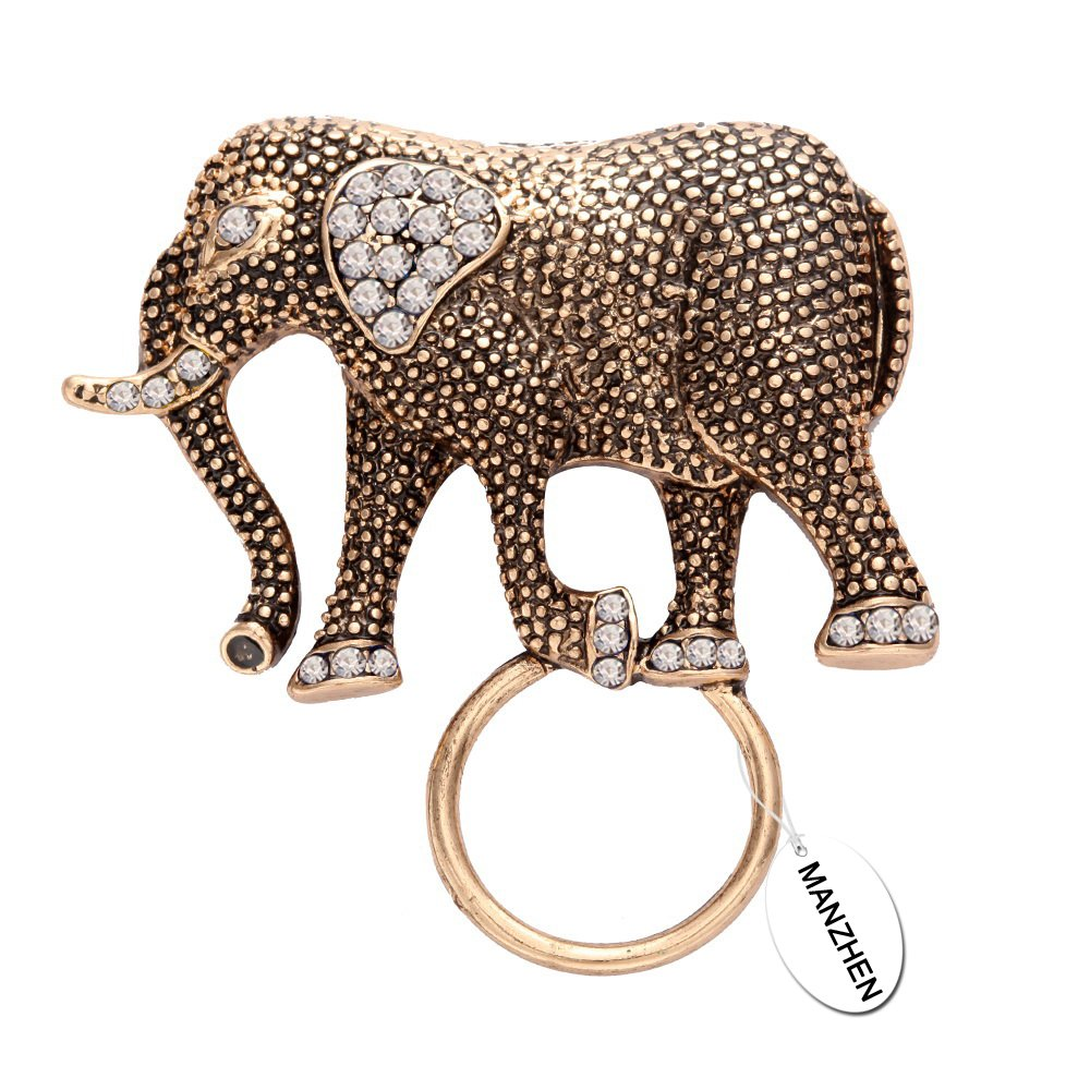 MANZHEN Natural Elephant Magnetic Eyeglass Holder Crystal Brooches for Shirt (White) by MANZHEN