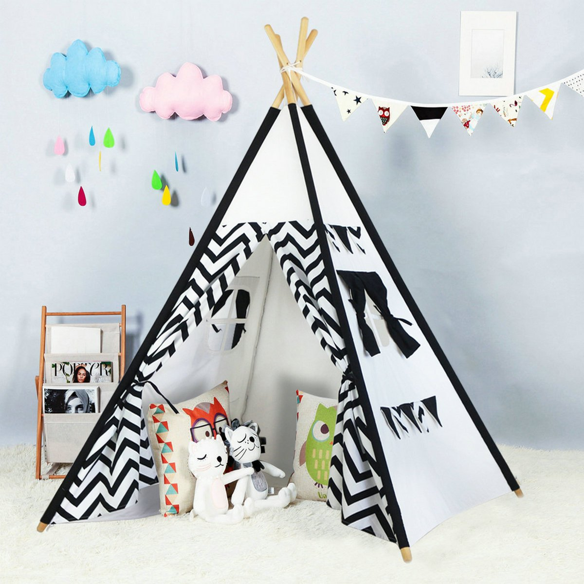 black wave Large Cotton Canvas Children Indian Tipi Playhouse with Carry Case by Steegic Kids Teepee Indoor Play tent