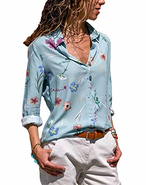 2a61c6bb65e Amazon.com  Floral Print Button Down Shirts for Women Long Sleeve V Neck  Casual Street Blouses Tops  Clothing