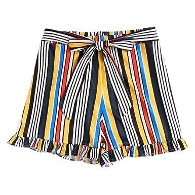 d96d71449c78 TWIFER Damen Casual Streifen Hot Pants Plus Größe Boknot Bandage Shorts  Strand Hosen Kurzschlüsse (M