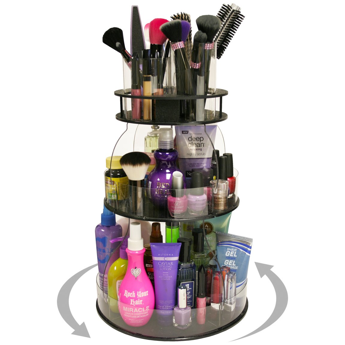 New...Makeup & Cosmetic Organizer with 4 Tube Holders for Brushes Etc.That Spins for Easy Access to all your Beauty Essentials, NO More Clutter! Give Yourself a Neat, Clean Countertop in Only 12'' of Space. ...Proudly Made in the USA! by PPM.