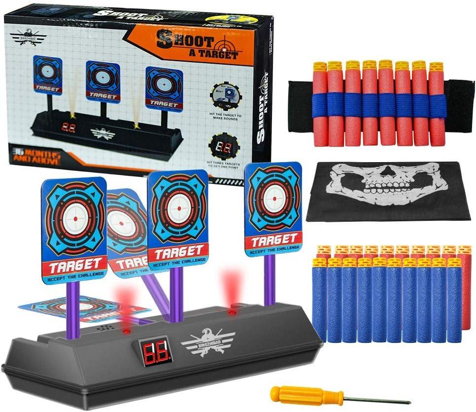 Objetivo Digital electrónico para Nerf, OFUN Juguete Objetivos con Pantalla LCD Efecto de Sonido de Luz, Reinicio Automático, Objetivo para Nerf Guns Blaster Elite/Mega/Rival Series