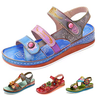 ea3e25734badf4 gracosy Womens Summer Sandals Leather Low Wedge Platform Sandals Ladies Flat  Heel Slides Sandals Shoes Vintage Handmade Flower Splicing Bohemian Outdoor  Non ...