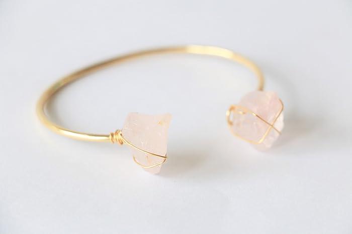 c7031fc5d5e62b Raw Crystal Bracelet, Rose quartz bracelet, raw quartz bracelet, raw  crystal cuff, crystal cuff bracelet, open cuff bracelet, gold cuff:  Amazon.ca: Handmade