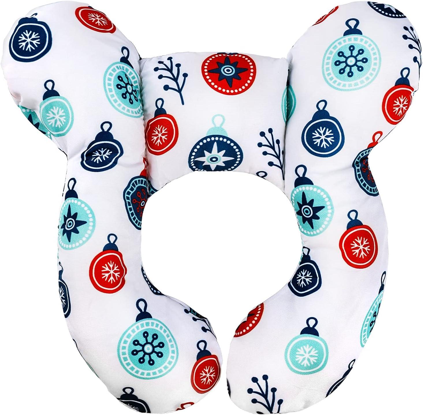 LUTER Almohada Viaje para Bebés, Cojin Cuello para Bebé Coche Reposacabezas para el Asiento del Automóvil Cómodo Algodón Suave Almohada Cervical Viaje para Infantil (Punto Rojo y Azul)