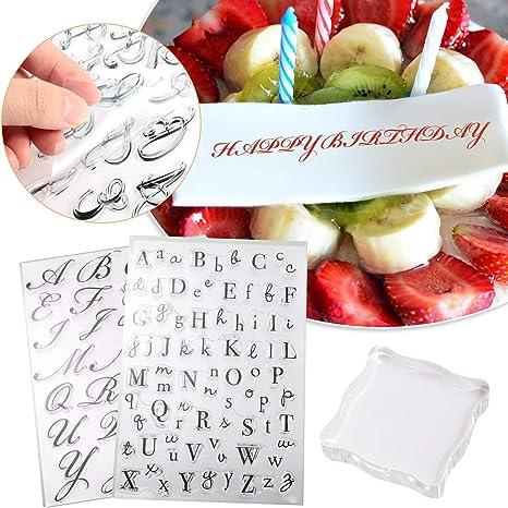 ghdonat.com 3 Pieces Alphabet Cake Stamp Tool Set Include 2 Pieces ...