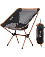 Silla de Camping Plegable con bolsa, plegable y portátil, carga hasta 150 KG, ideal para acambaca/senderismo/viaje/Caza/Pesca, naranja