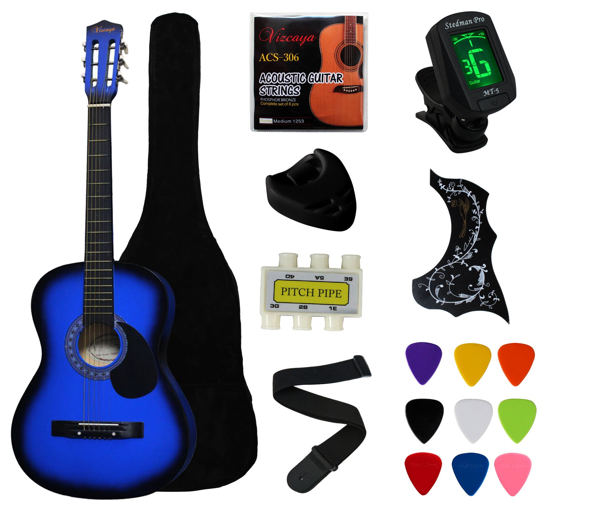 YMC 38'' Blue Beginner Acoustic Guitar Starter Package Student Guitar with Gig Bag,Strap, 3 Thickness 9 Picks,2 Pickguards,Pick Holder, Extra Strings, Electronic Tuner -Blue by YMC