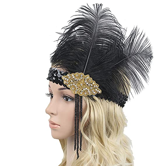 vimans Women s Feather Fascinator Cocktail Hat Tassel Wedding Fascinators   Amazon.ca  Clothing   Accessories a777799da8f
