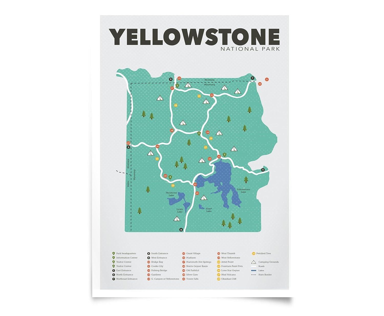 Amazon.com: Yellowstone National Park Map (13\