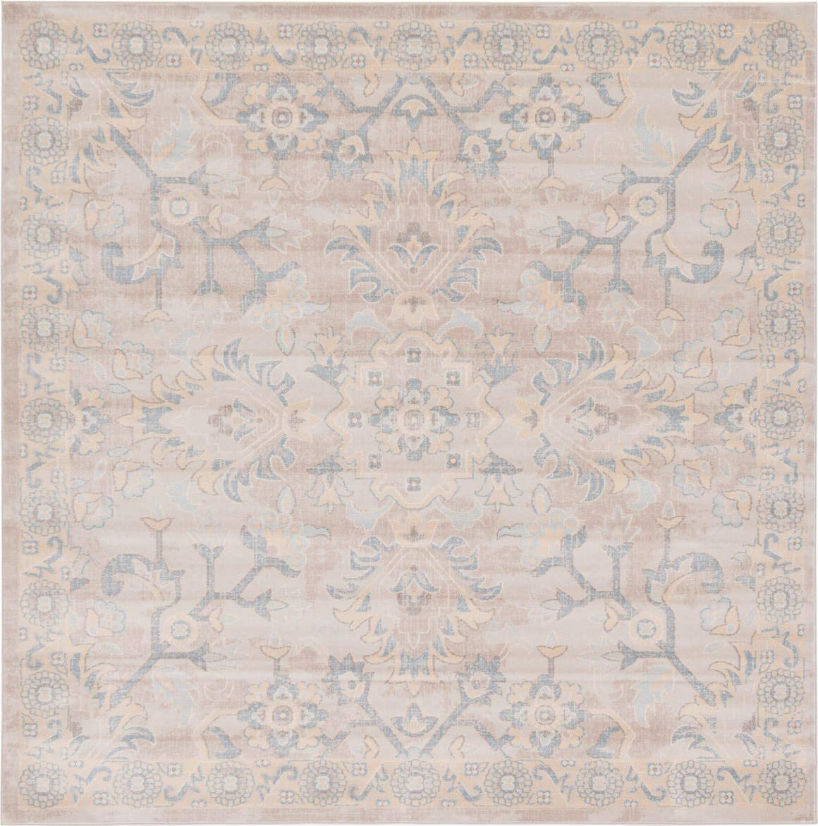 Unique Loom Paris Collection Pastel Tones Traditional Distressed Gray Square Rug 8 0 x 8 0