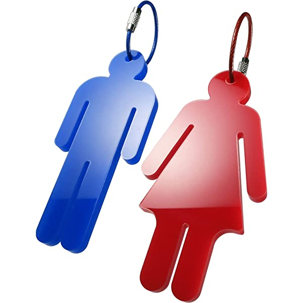 1 Mens // 1 Womens Flexible Bathroom Key Chains 2 Pack Restroom Pass Keychains