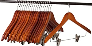 Home-it (20 Pack) Cherry Wood Solid Wood Clothes Hangers, Coat Hanger Wooden Hangers with Clips