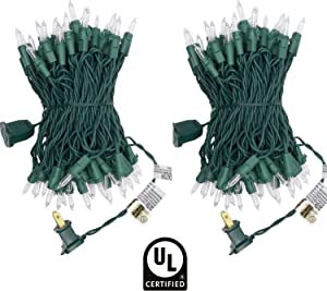 UL Certified 66 Feet 200 Count Clear Christmas String Lights, Pack of 2 Sets 33 Ft 100 Count Commercial Grade Lights Set, Connectable Decor Lights for Patio Garden Wedding Holiday (Clear - Green Wire)