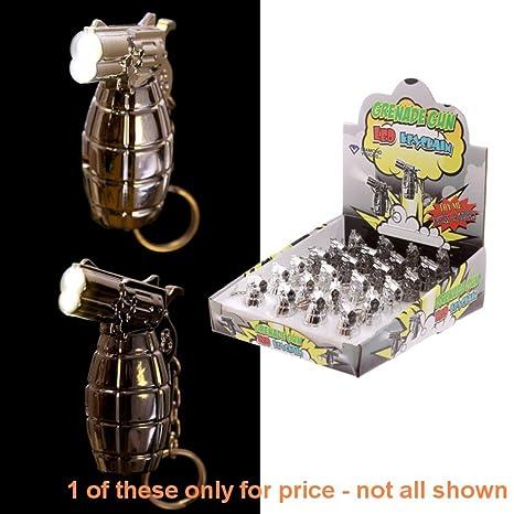 Novedad pistola de Granada llavero LED - altura 6 cm, ancho ...