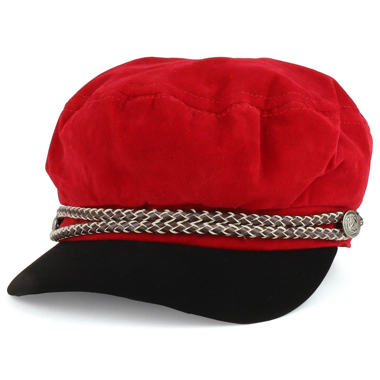 Trendy Apparel Shop Baker Boy Style Cabbie Rope Band Velvet Fiddler Cap - RED by Trendy Apparel Shop